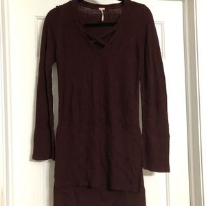 Free People burgundy xs sweater tunic cross cross